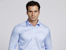 男士长袖衬衫色织条纹高档压胶免烫G591M