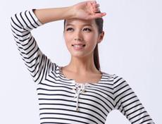 女士圆领中袖T恤衫定做G679F 黑白条纹弹力T恤