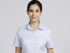 高档CVC半压胶免烫女士短袖衬衫G516F