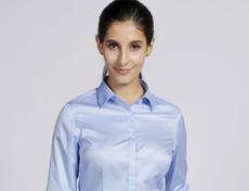 色织条纹高档压胶免烫女士长袖衬衫G591F