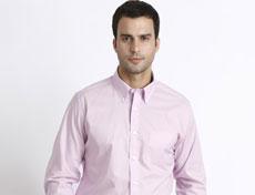 粉色免烫CVC面料男士长袖衬衫G584M