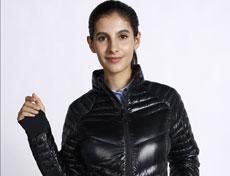 女士亮黑色运动修身羽绒服G272F