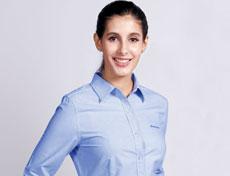 高品质女士CVC条纹牛津纺衬衫G592F